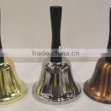 5'' metal hand bell with wooden handle A12-H02,Gold/silver plated or colorful painted,logo attached for promotion(E487)