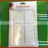 hot sale gold tattoos,metallic temporary tattoos,fashion flash tattoo jewelry tatoo sticker sex woman body luminous tattoo