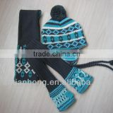 fashion acrylic winter knitted hat mittens scarf set