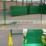 Canada green/red powder coated square tube temporary fence with metal plate base,portable fence construction fence with ISO