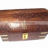 Wooden carved half round box for sundries, wooden carved & brassinlay decorative box, decorative storage box, wooden storage box