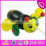 Cartoon animal bee design kids hand push toy,Preschool Baby Lovely Animal Toys Wooden Little Bee Push Toy W05B111