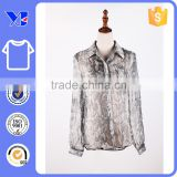 Wild snake printing formal design breathable silk lady t-shirt