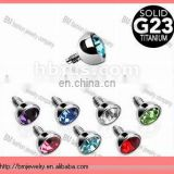 Internally Threaded Grade 23 Titanium Press Fit Gem 3mm for Internally Threaded Dermal Anchors Piercing Accessories