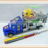 Friction truck toy with wind up plane and free wheel car friction toys