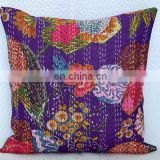 "Handmade Embroidery Work Kantha Cushion Pillow Cover Throw 16"" Indian floral Printed Home Decorative Vintage art Par pal"