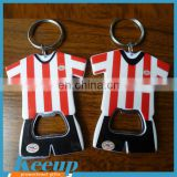Promotional Customized Printed T-shirt bottle opener keychain sport jersey keyring bottle opener For World cup promotion