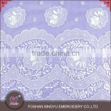 Factory specializing made chiffon laser french chemical embroidery fabric for wedding dress lace