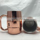Hot coffee Mug Passed FDA, CA65 Double Wall 304 Stainless Steel, Copper Plated 17oz 500mL insulated Beer Mug with plastic lid