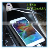 hot sale oem white and black colorful ring blue led 5v 5.2a 6.8a 3 port travel charger for blackberry