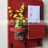 Decorative wall wood letter holder and key rack with flower vase                                                                         Quality Choice