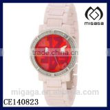 fashion artificial diamond ceramic watches*Women's Ceramic Diamond Accented Red Dial Pink Watches