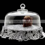 Grape Cake Stand Glass Dome beautiful plant Cake turkey dish Dome with Over 13-inch Diameter