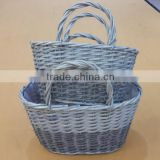 beautiful design a set of 2 pcs 2 color combined willow wicker flower pot