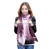 new arrival two Gradient changes color design with tassels womens scarf, silk scarf hijab