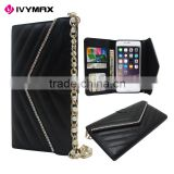 Elegant Ladies Chain Style Design Black Luxury Pouch Leather Wallet Pouch Case Cover with Slots For iphone 6