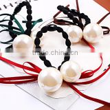 Simple Fashion Elegant Ribbon Double Imitation Pearl Hairband Elastic Hair Bands for Women Bride Accessories Jewelry