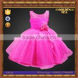 Fasihon Flower Decoration Organza Sleeveless Ball Gown Baby Girl Wedding Dress