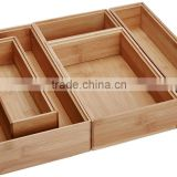 Bamboo Drawer Container new design storage Boxes Set of 5 bamboo desk organizer Boxes