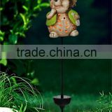 handmade ceramic mini squirrel led solar garden light lawn ornaments