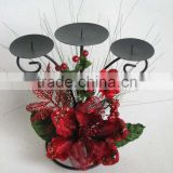 Christmas indoor decorations artificial velvet red poppy flowers candlestick