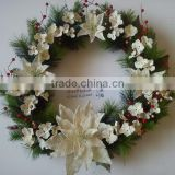 2015 new christmas artificial poinsettia and berry wreath cream 24 inch christmas artificial pine flower christmas decoration