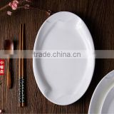 High heat ceramic glass various size white oval fish plate dish for restaurant hotel home