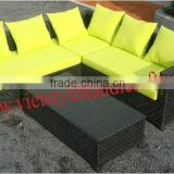 CHEAP PRICE BLACK WICKER SOFA SET WITH YELLOW CUSHION COLOR /OUTDOOR /GARDEN SET WITH DISCOUNT PRICE