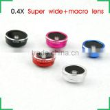 2 in 1 Smartphone Lens Kit 0.4x super wide angle lens Cellphone Lens Macro Lens fisheye lens for iphone 6 plus
