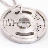 2016 Fashion Jewelry 316l Stainless Steel Silver Fitness Necklace for Men