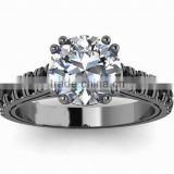 Latest Design Single Big Centre Stone High Quality Zircon Rings Silver Plated Ring Accessories For Women