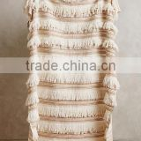 Luxury cream-colored moroccan cotton yarn knitted throw for wedding