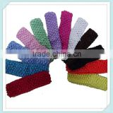 "Best Selling Baby 1.5"" Crochet Headband Solid Color Girls Elastic Hair Bands In Stock Factory Price Stretch Baby Accessories"