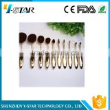 2016 New 90degrees bending rose gold Oval brush set 10pcs Foundation Makeup Brush Sets Powder