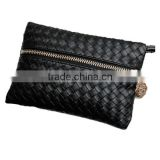 Cheapest Concise Weave Black Zipper Wallet | Wrist Handbag (BQGT017)