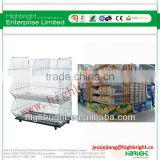 supermarket retail display rack wire promotion stackable basket for storage with mobile wheels