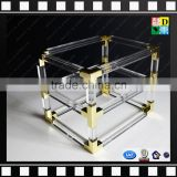 High transparent acrylic coffee table frames PMMA side table 2 layers table with metal from china manufacturer