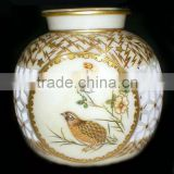 Home decoration marble stone flower vase with beautiful golden art work