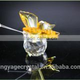 Promotional fascinating yellow crystal butterfly model new promotional wedding giveaway gifts