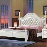 Rubber Bedroom Furniture Queen bed in White painting by PU leather Upholstered headboard
