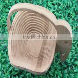 natural foldable elephant shape bamboo fruit basket
