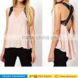 2015 sexy ladies Summer women low price sleeveless backless cami spaghettie strap shirts Chiffon Tank Tops blouse