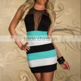 New! Wholesale Online Shopping Sexy Women's Bodycon Clothing Clubwear Striped Cocktail Party Evening Dress