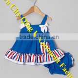 Great 4th of July and summertime outfit Infant Baby Girls Blue Stripe Ruffle Bow Swing Top & Diaper Cover Sets