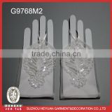 G9768M2 soft white mesh corded embroidery bridal wedding glove