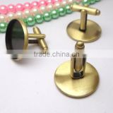 16-20mm Bronze Tone Round Blank Cufflink Base For Glass Cabochon