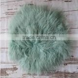 Vintage wool ruffle blanket Newborn felted flokati rug basket stuffer Round fur blanket backdrop photography props
