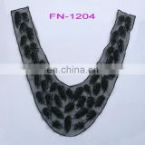 fashion leaf shape sewing decorative beads collar