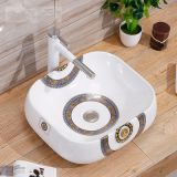 Wholesale counter mounting european square no hole decal art wash basin