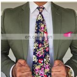 100% cotton printed navy bouquet tie